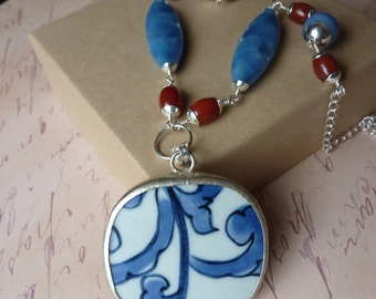 SALE - Pottery Shard Necklace with Blue Quartz and Carnelian