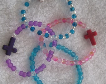 Girls bracelets, cross bead with colorful glass beads, stocking stuffers, party favors, set of 4