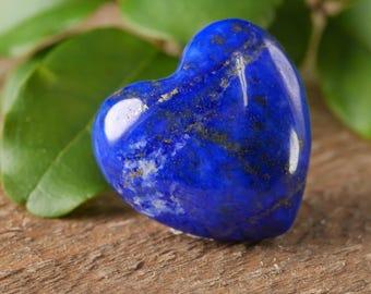 One Mini LAPIS LAZULI Stone Heart - Shaped Stone, Healing Stone, Heart Rock Chakra Crystal, Heart Stone, Lapis Lazuli Gemstone E0241