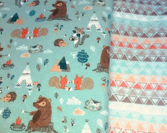 Made to order, Soft Flannel Receiving Blanket, Woodland, Bears, Camping, Teepee, Swaddle