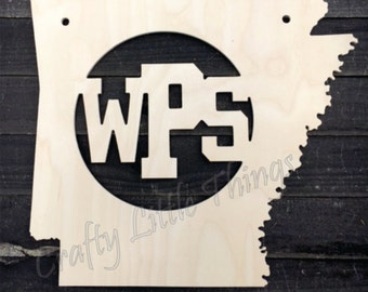 WPS monogram state shape Arkansas shape
