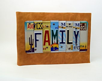Extra Large Leather Photo Album FAMILY Recycled License Plates
