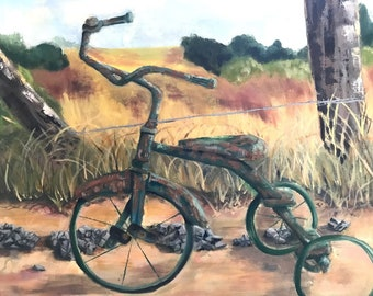 Painting Tricycle 16x20 Original Oil Painting, Wall Art, Bicycle Painting