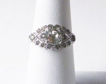 Mid-Century Retro Sterling silver geometric clear paste rhinestone antique engagement ring size 5.5