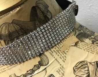 Silver Rhinestone Headband with Black Elastic