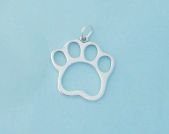 1 Sterling Silver Paw Print Pendant, Made in USA
