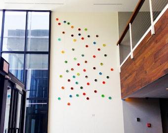 Original Wall Sculpture | Painted Wood Circles | Mixed Media Art installation | 3D Wall Art | Abstract Modern Corporate Art | sku#LC33006