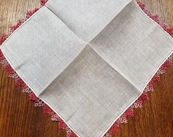 Pink Tatted Handkerchief - Vintage White Linen  #48