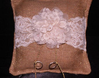 Burlap with Lace Ring Bearer PIllow