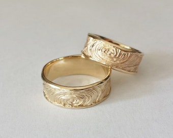 Wedding rings-tree rings-in 585 gold Fingrabdruck relief organic Wedding Rings