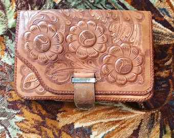 70s hand-tooled leather bag