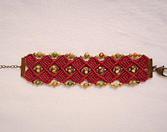 Boho macrame bracelet with jasper and unakite, beaded bracelet, macrame jewelry, hippie bracelet, boho jewelry,