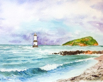 Penmon Point Lighthouse and Puffin Island, Anglesey, original Watercolour