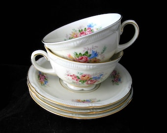 Zeh Scherzer China | Bavarian China | Cups and Saucers Set | Pink Yellow Blue Flowers | Bavaria Germany | Vintage China | Vintage 1940s