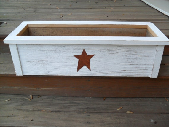 White Barn Wood Planter Box