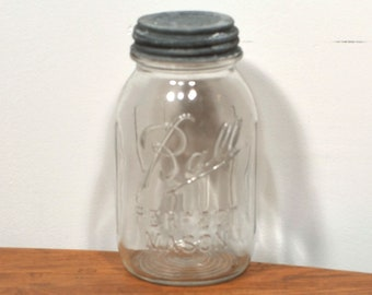 Vintage 1930's Clear Ball Mason Glass Round Quart Canning Jar with Zinc Lid