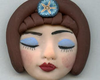 Polymer   One of a Kind Art Doll  face  with hairdo  ADH 2