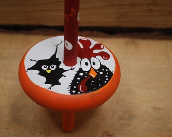 chicken and peep drop spindle, handpainted and handcrafted