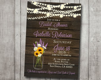 Bridal Shower Invitation Sunflower Lavender Daisy Mason Jar Rustic Wood Fairy String Lights Digital File, I Customize With Your Event Info