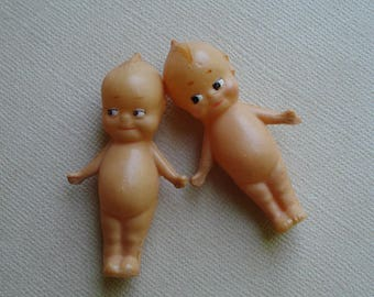 "2 Antique 2"" Miniature Celluloid Kewpie Cupid Dolls"
