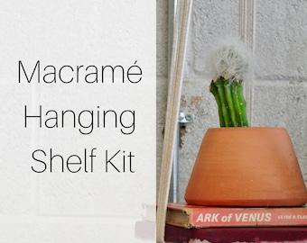 Macrame Hanging Shelf Planter Kit for Beginners | Macrame Kit Pattern Tutorial Hanging Planter | Macrame Wall Hanging Kit