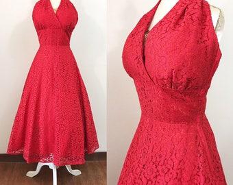1950s Vintage Dress / Red Lace / Halter / Vintage 50s Dress / Bombshell