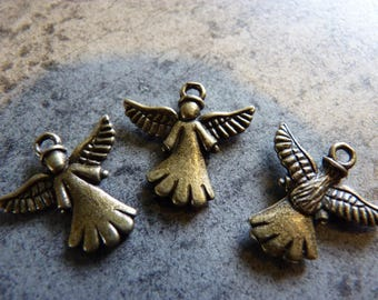 3 bronze Angel charms