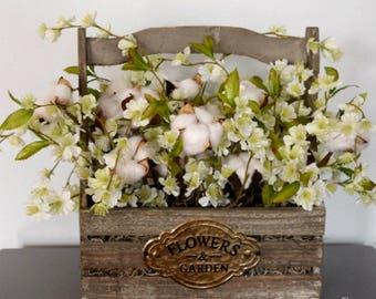 Rustic Cotton Arrangement with Flowers   Wood Planter Cotton Decor   Farmhouse Decor   Second Anniversary Gift