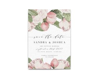 SANDRA SUITE // Save the Date, Peony flowers, Wedding, Invitation, Botanical, Pink Peony, Blush, Florals, Marble
