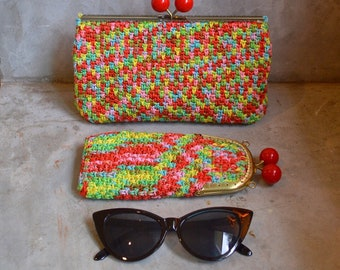 Crocheted purse and glasses case with kisslock frame set