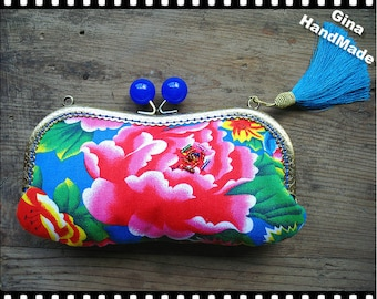 Blue Peony Eyeglasses and sunglasses purse/Coin purse /// Wallet / Pouch coin purse / Kiss lock frame purse bag-GinaHandMade