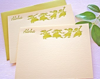 Letterpress Stationery Aloha Hula Golden Green
