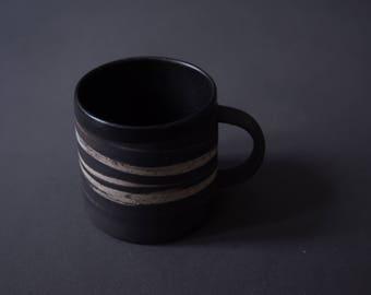 Black marbled 350ml mug - handmade wheel thrown stoneware, nordic minimal natural