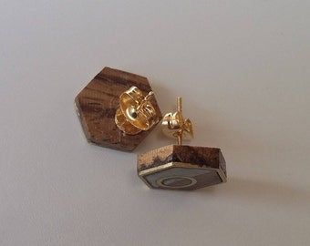 Handmade Stud Earrings, Zebrawood, Brass Inlay, White Epoxy design, One-of-a-kind, Hexagon, Circle