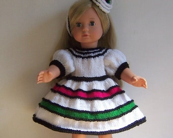 Doll knitting pattern, PDF, for 18 inch dolls, American Girl, Our Generation and similar dolls, Dress, Hair Decoration,  shoes, socks