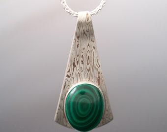Mokume gane pendant etsy mokume gane teardrop shield pendant woodgrain pattern with malachite aloadofball Gallery