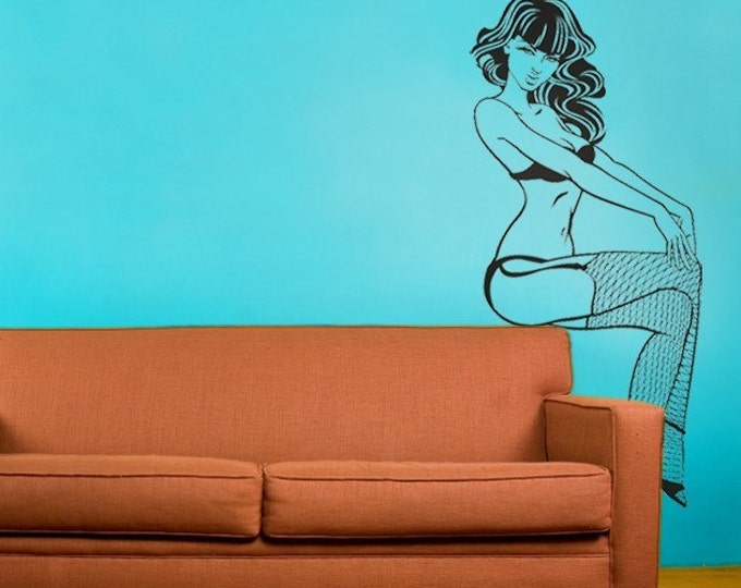 pin-up girl vinyl wall decal, fishnet pin up art, FREE SHIPPING