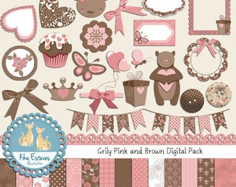Pink and Brown Teddy Digital Clip art and Paper Bundle - Scrapbooking , card design, invitations, web design - INSTANT DOWNLOAD