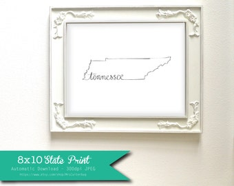 Printable Tennessee State Art Print 8x10 Digital Wall Art Gift