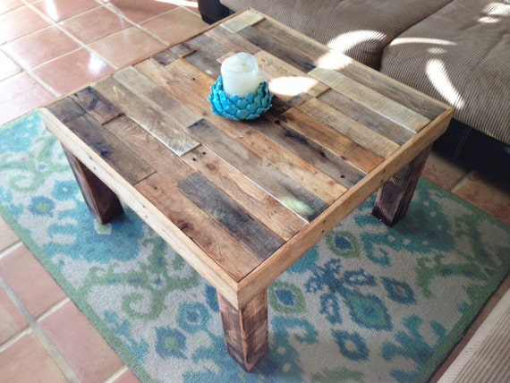 square reclaimed recycled wood coffee table living room accent