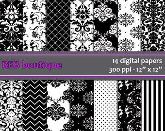 Digital Paper Damask - Digital paper, black, white, damask, dots, chevron, stripes, paper pack, scrapbooking 21