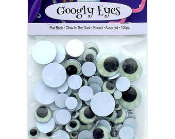 Googly Eye Glow In The Dark Flat Back Round Assorted  100pc Wiggle Eyes (ADB7552-AVP.250)