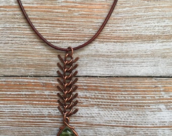 Fish Bone Chain Pendant Necklace
