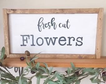Fresh flowers sign, flower wall sign, large flower shop sign, farmhouse style decor, fresh flowers, hand painted wood sign
