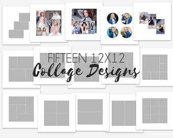 Fifteen 12x12 Clean Minimalistic Photo Collage Designs with Photoshop templates