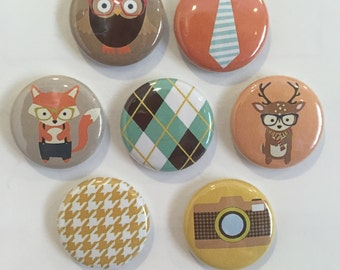 Hipster Animal Magnets - set of 7