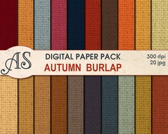 Digital Autumn Color Burlap Paper Pack, 20 printable Digital Scrapbooking papers, Fabric Digital Collage, Instant Download, set 256