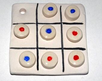 Handmade Ceramic Tic Tac Toe Gift Wrap Greek Souvenirs, Ceramic Games, Pocket Game, Small Triliza Game