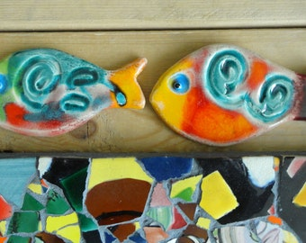 2 decorative fish glazed ceramic - fishes for the decoration-ceramic art mosaic art