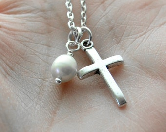 Pearl Baptism Necklace, Silver Cross and Pearl Necklace,  First Communion Gift, Confirmation Jewelry, Girls Cross Necklace